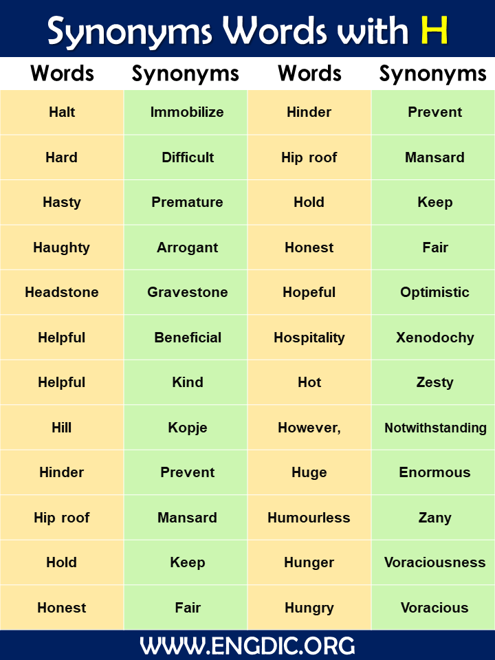 Synonyms words with H