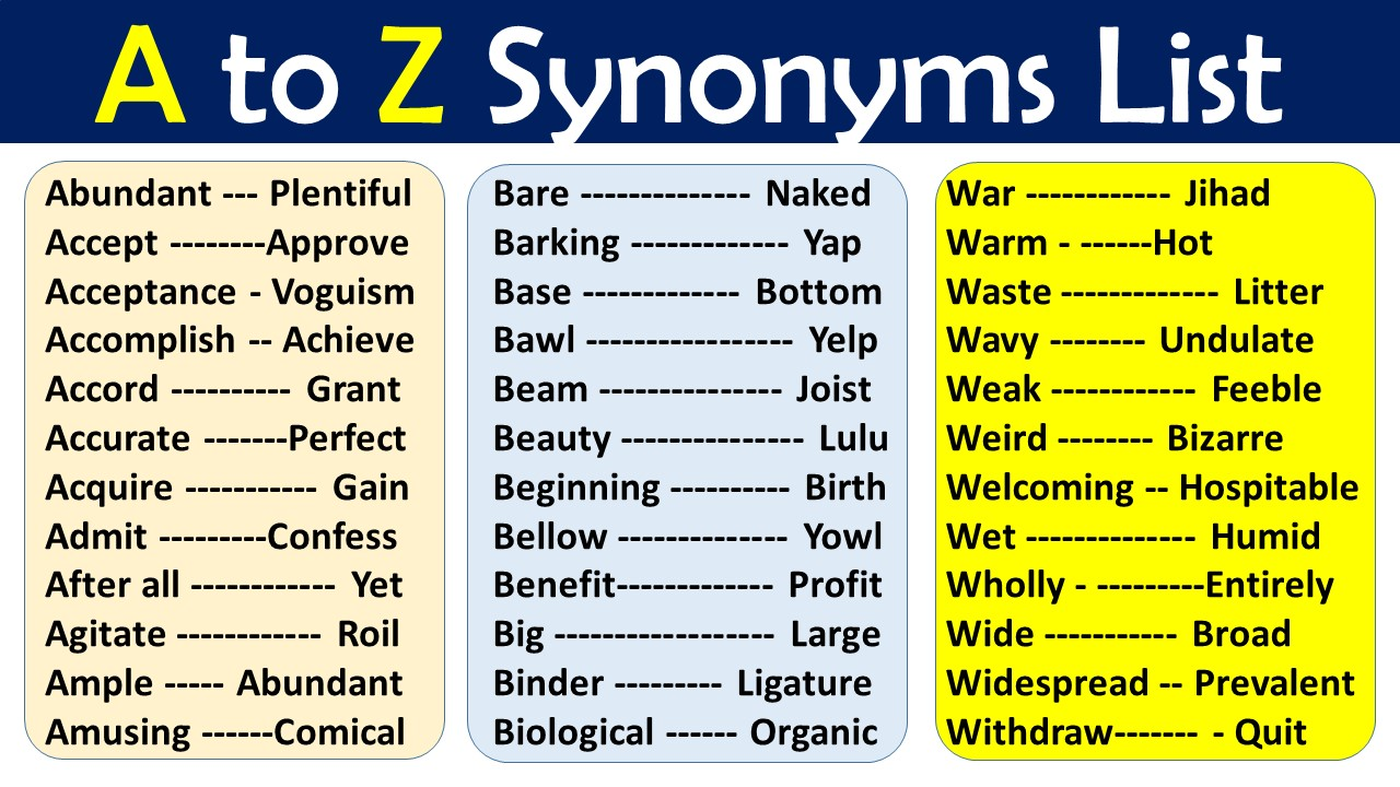 synonyms list A to Z PDF