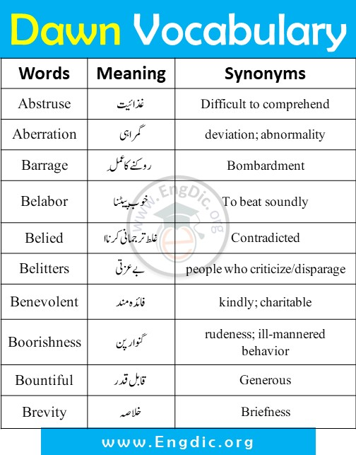 daily dawn vocabulary CSS vocabulary words list with urdu meanings and synonyms pdf (4)