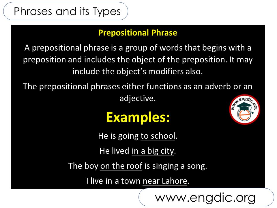 prepositional phrase in english
