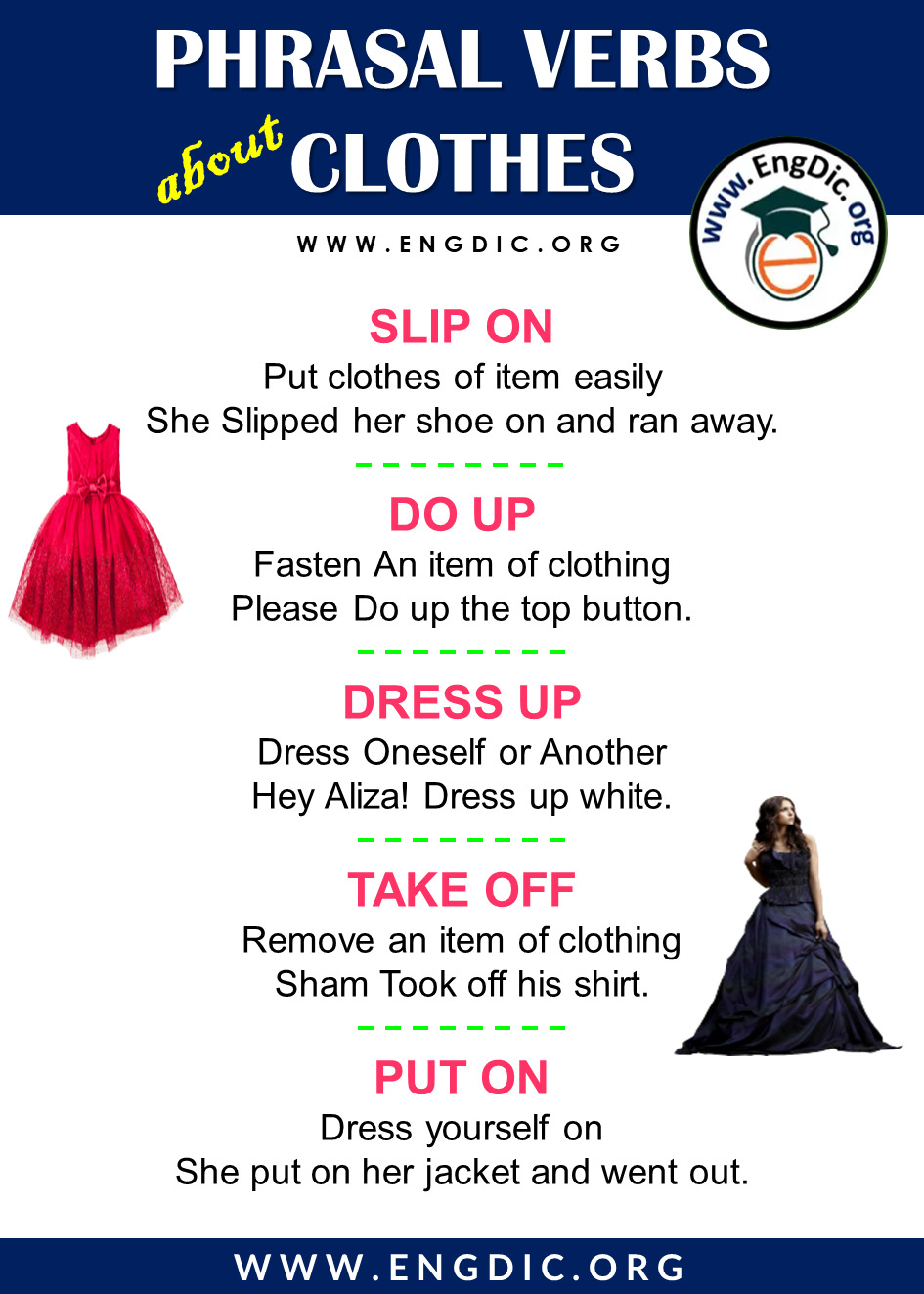 phrasal verbs for clothing