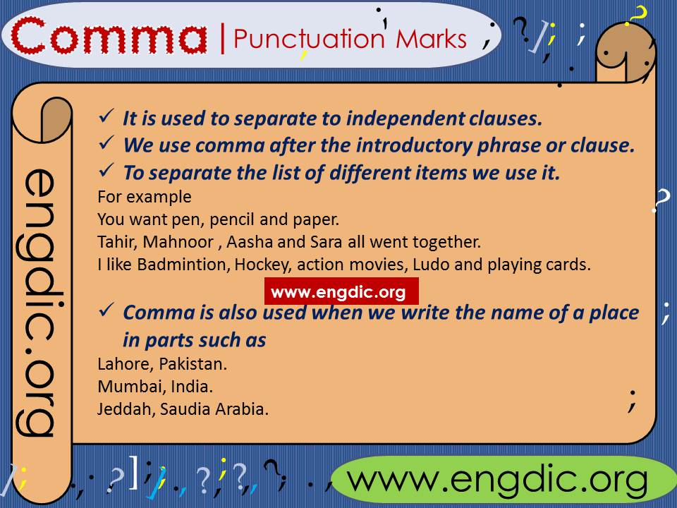 Punctuation marks use of comma