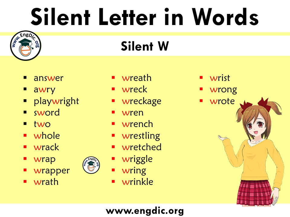 silent letter words with w
