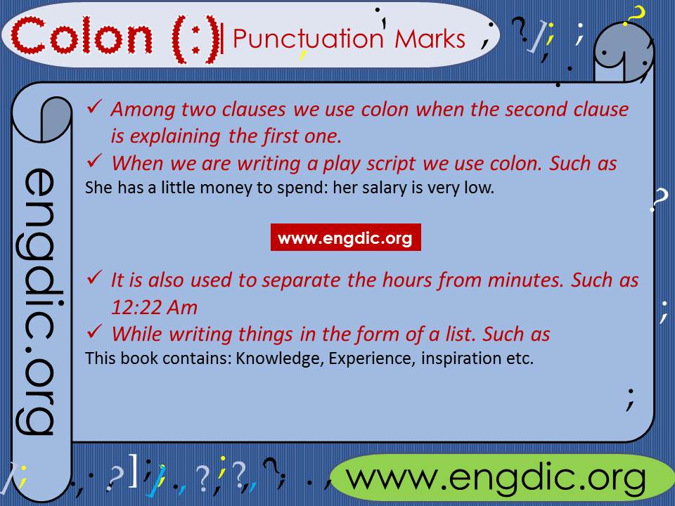 Punctuation marks use of colon