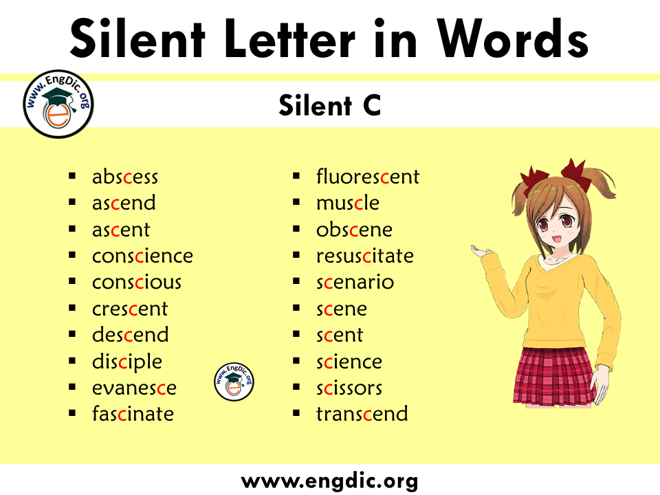 silent letter words with c