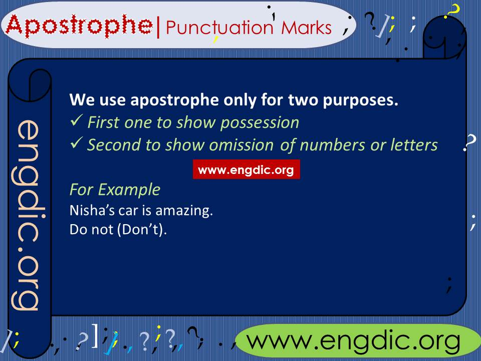 Punctuation marks use of Apostrophe