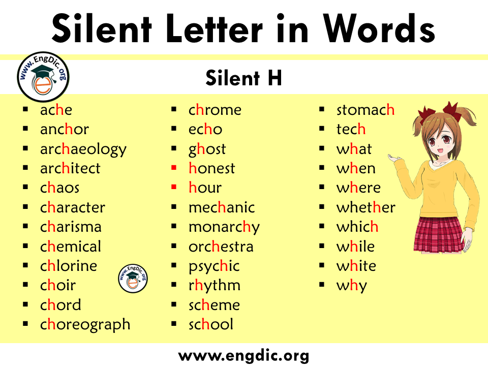 silent letter words with h