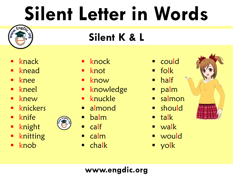 silent letter words with k