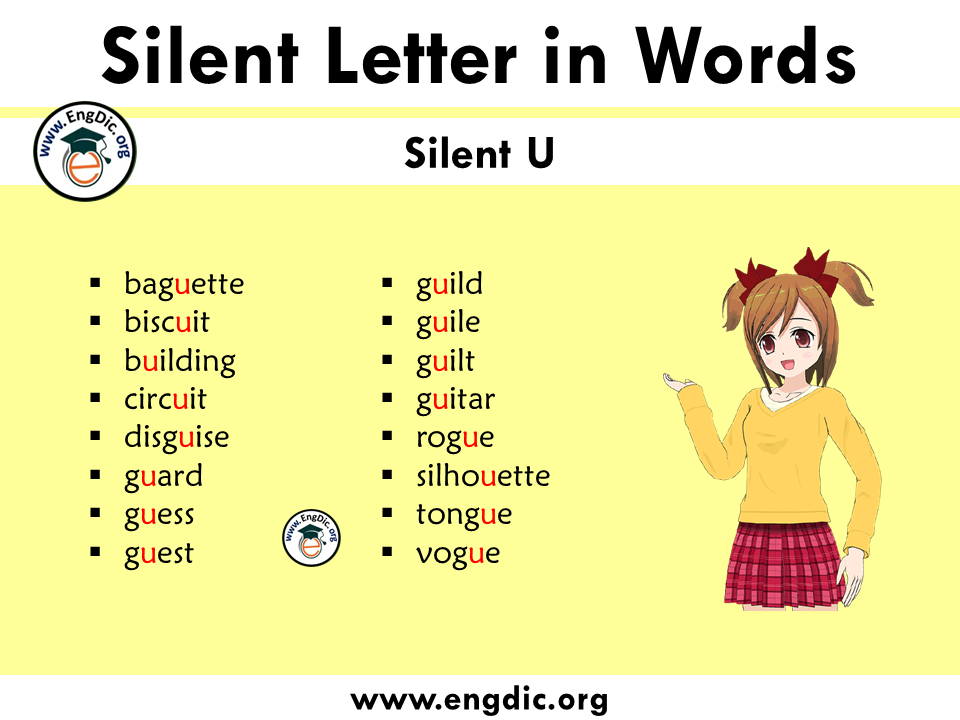 silent letter words with U