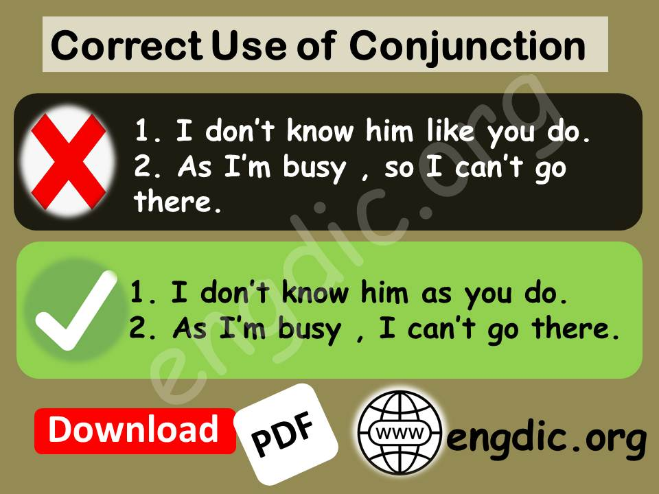 use of conjunction as, so