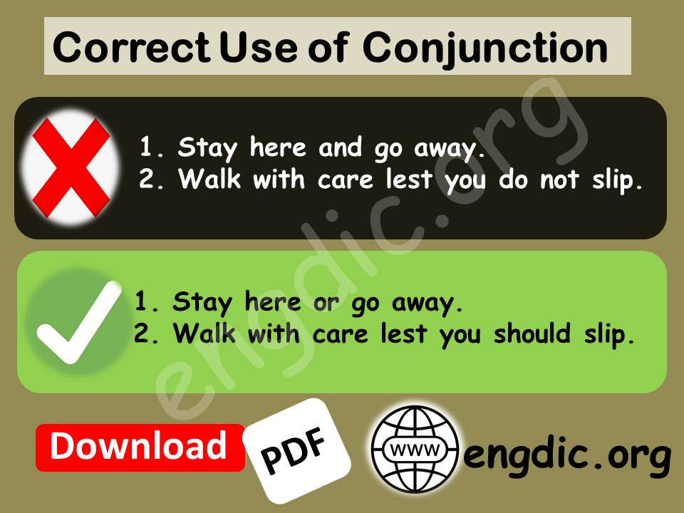 use of conjunction or, lest