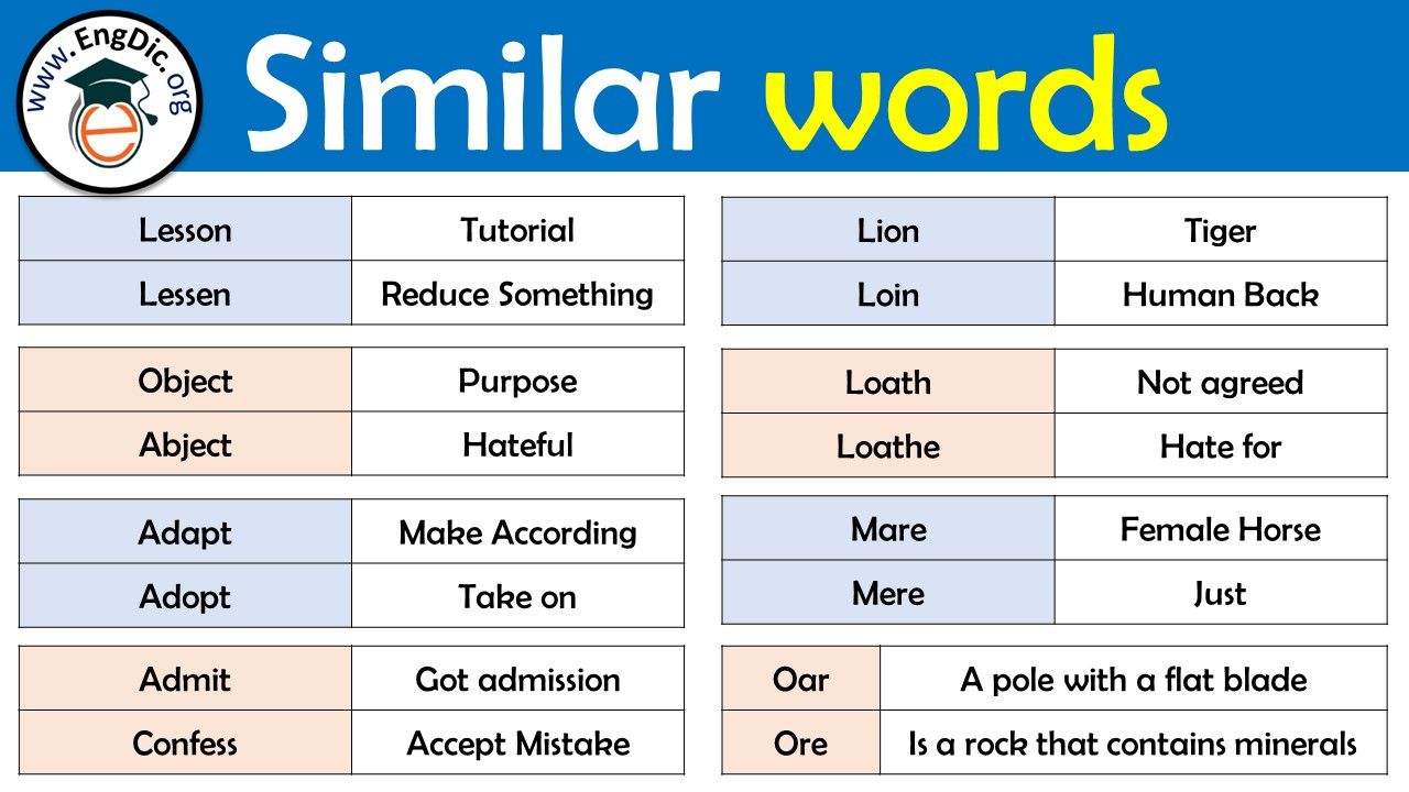 similar words with different meanings