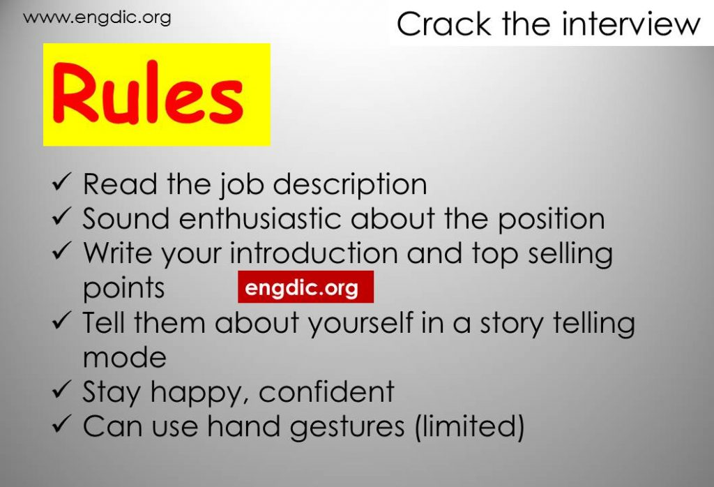 Rules for Job interview Preparation