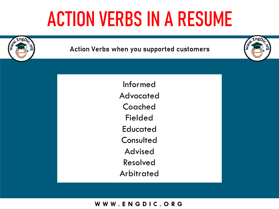 action verbs when you support the customers