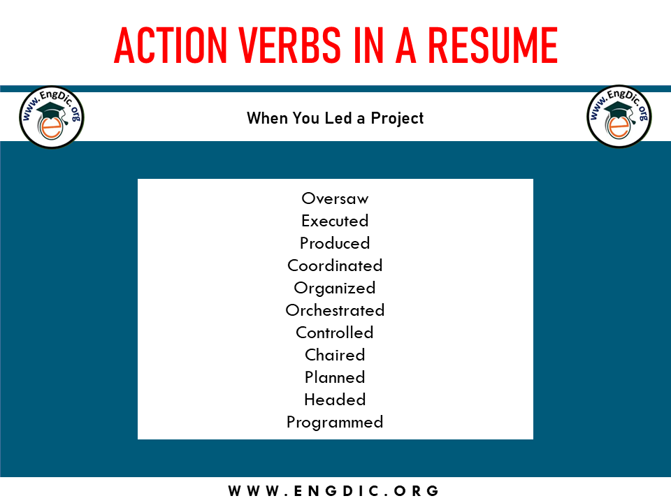 action verb when you led a project