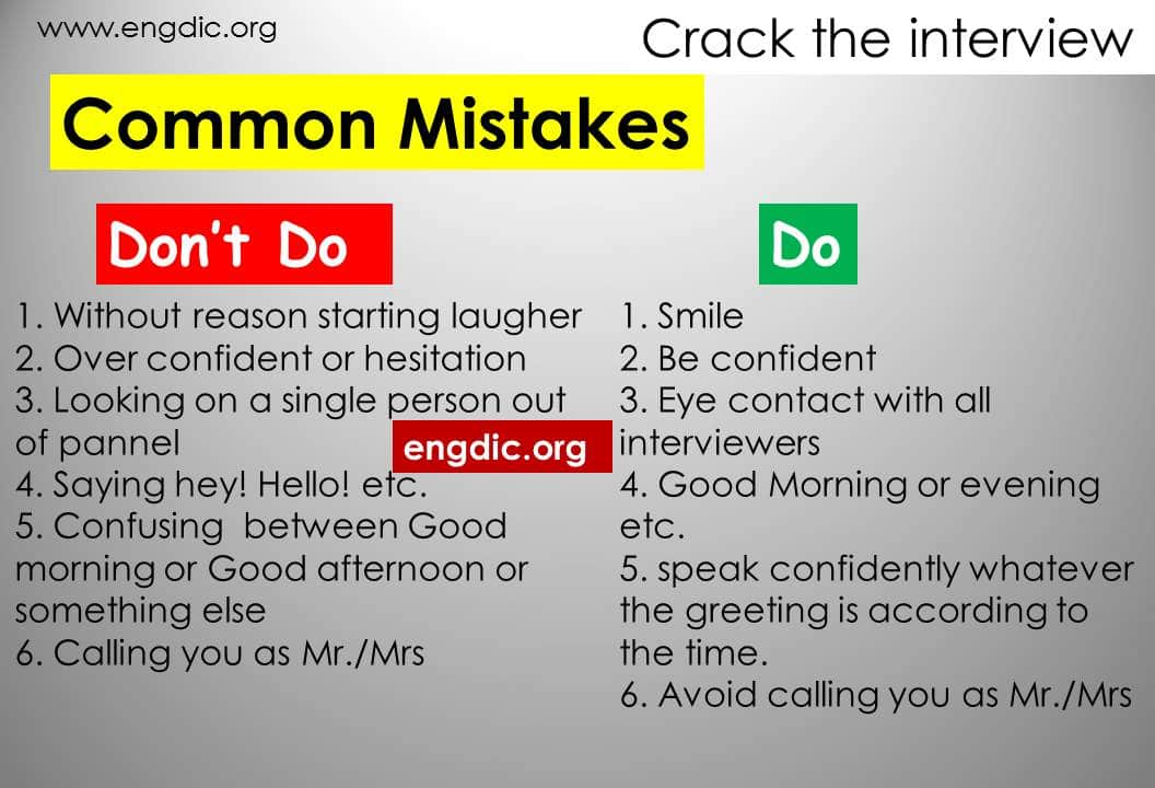 Common mistakes in interview