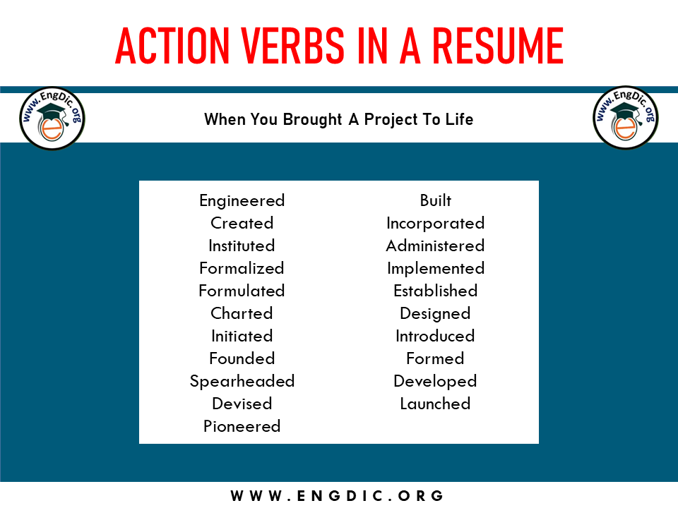 action verb when you brought a project to life