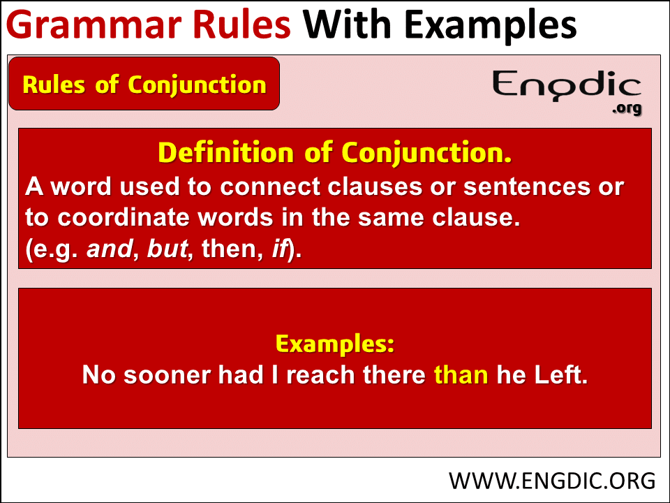 grammar rules of conjunction