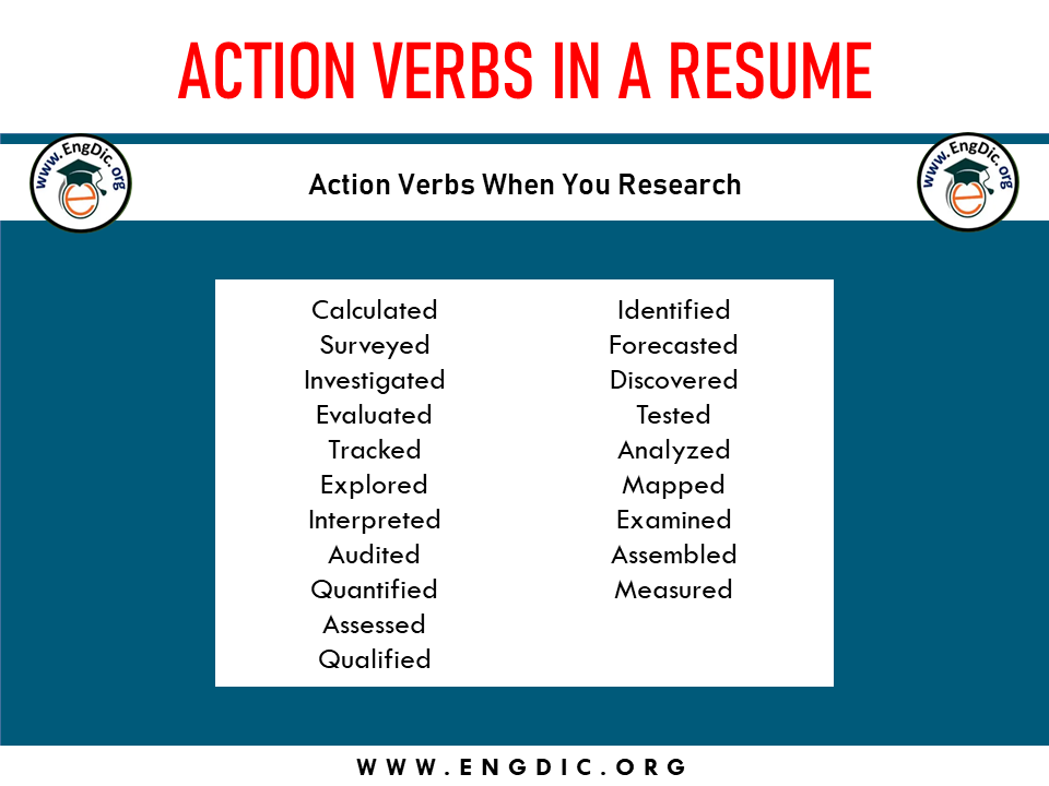 action verb when you research