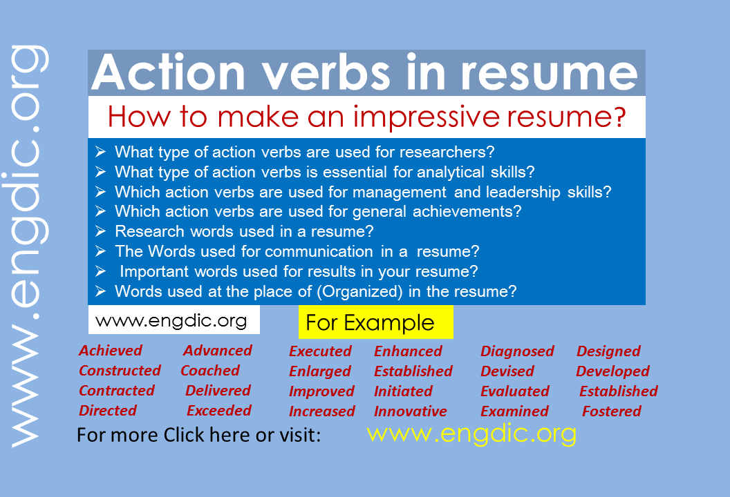 Action verbs in resume
