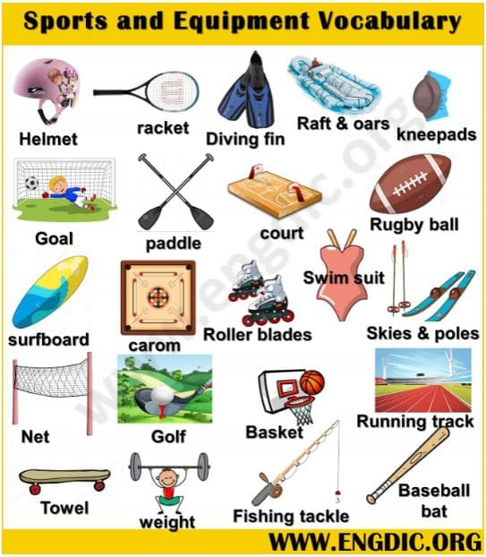 sports and equipment vocabulary