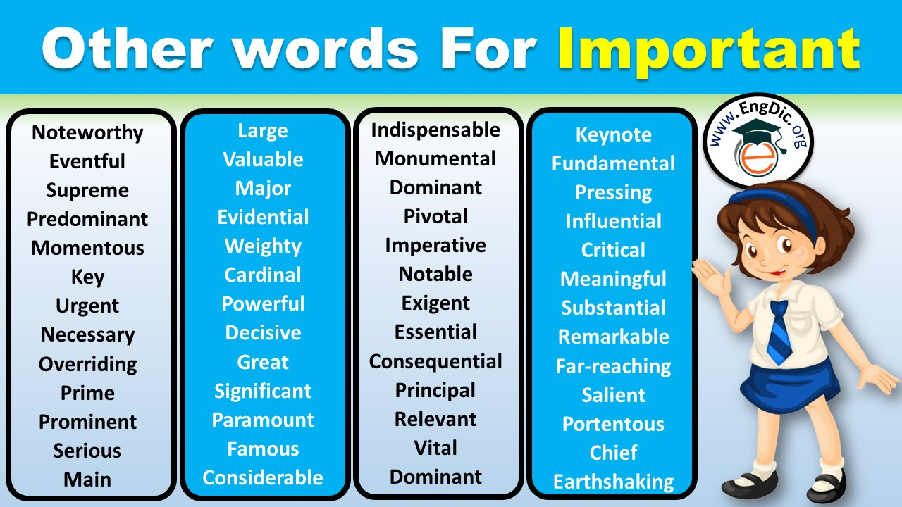 What's another word for important: Synonyms for important in English