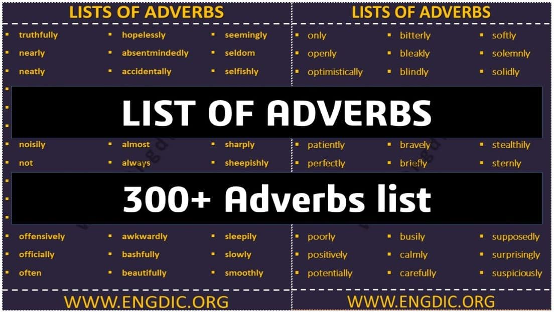 A List of Adverbs – 300+ Common Adverbs List | Info-graphics and PDF