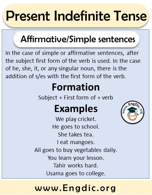 affirmative or simple sentences formation and examples