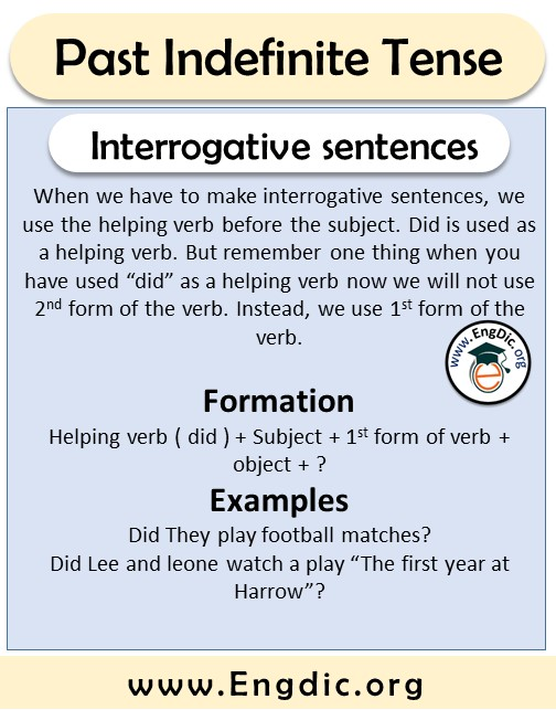 interrogative sentences formation and examples past tense