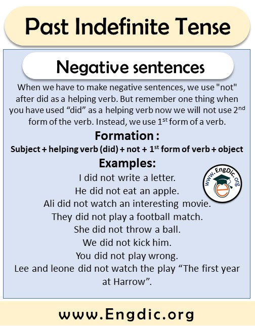 negative sentences formation and examples past tense