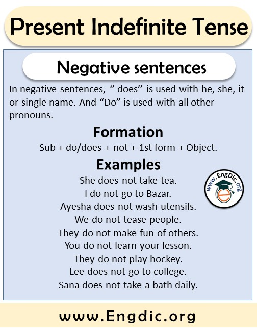 negative sentences formation and examples