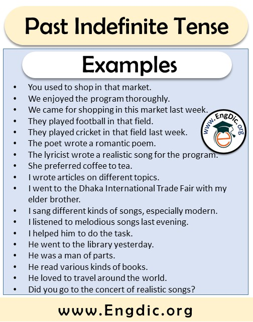 past indefinite tense sentences formation and examples