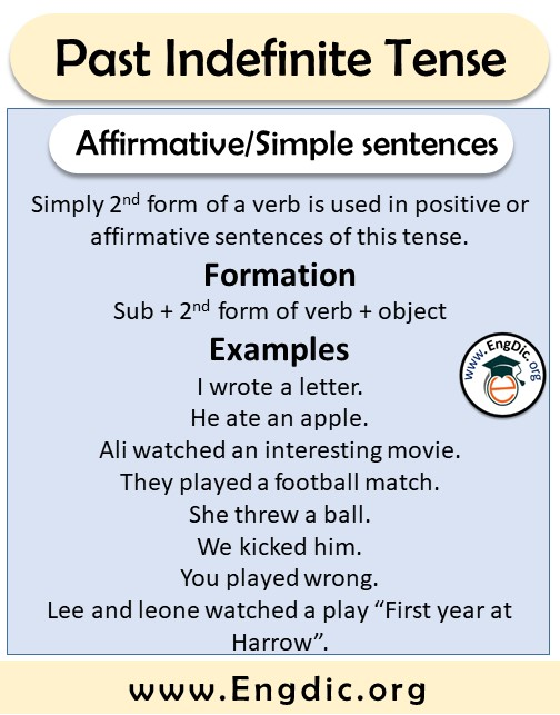 simple or affirmative sentences formation and examples
