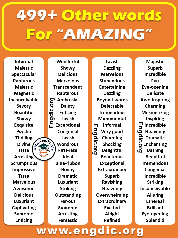 another word for amazing in english - synonyms of amazing list