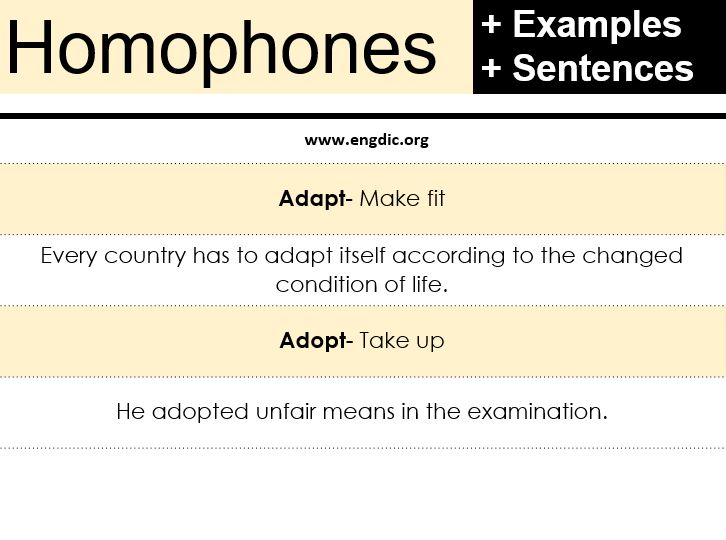 homophones examples with sentences