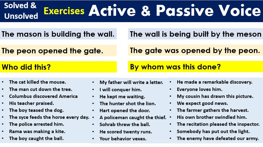 Exercises for active and passive voice
