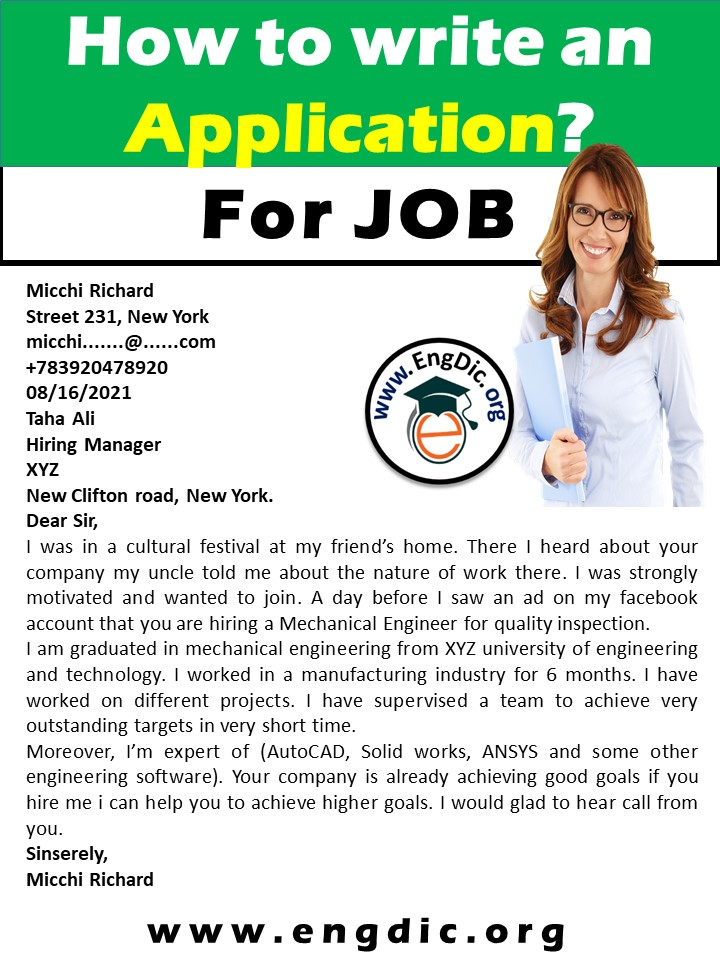 application for a job