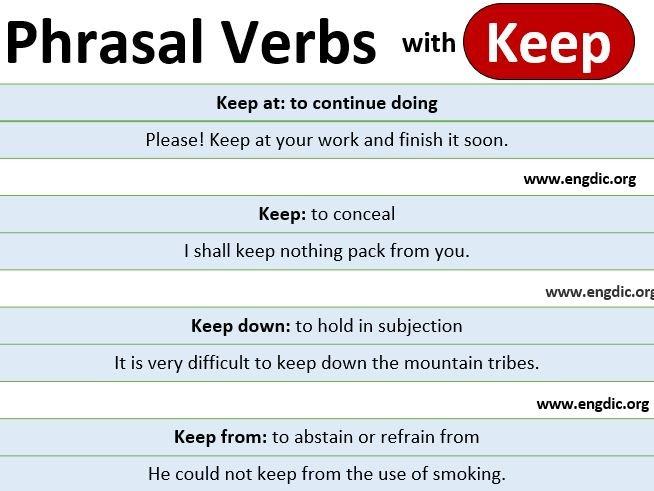 Phrasal verbs with keep