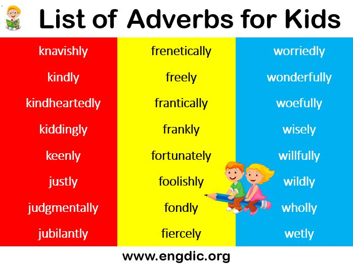 List of adverbs for kids pdf