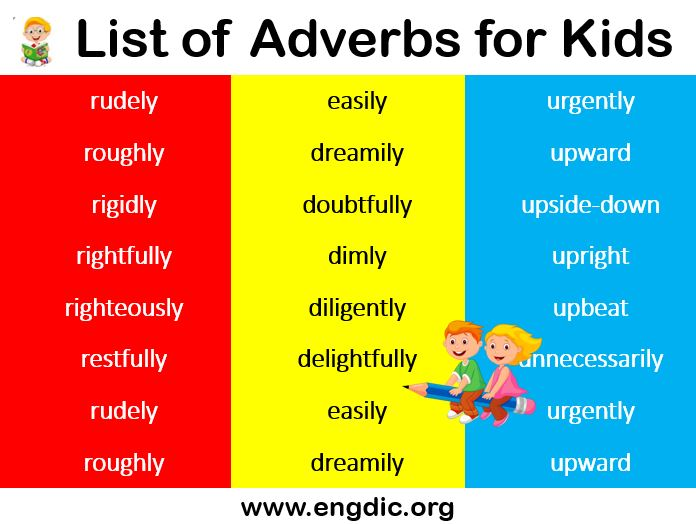 Long List of adverbs for kids