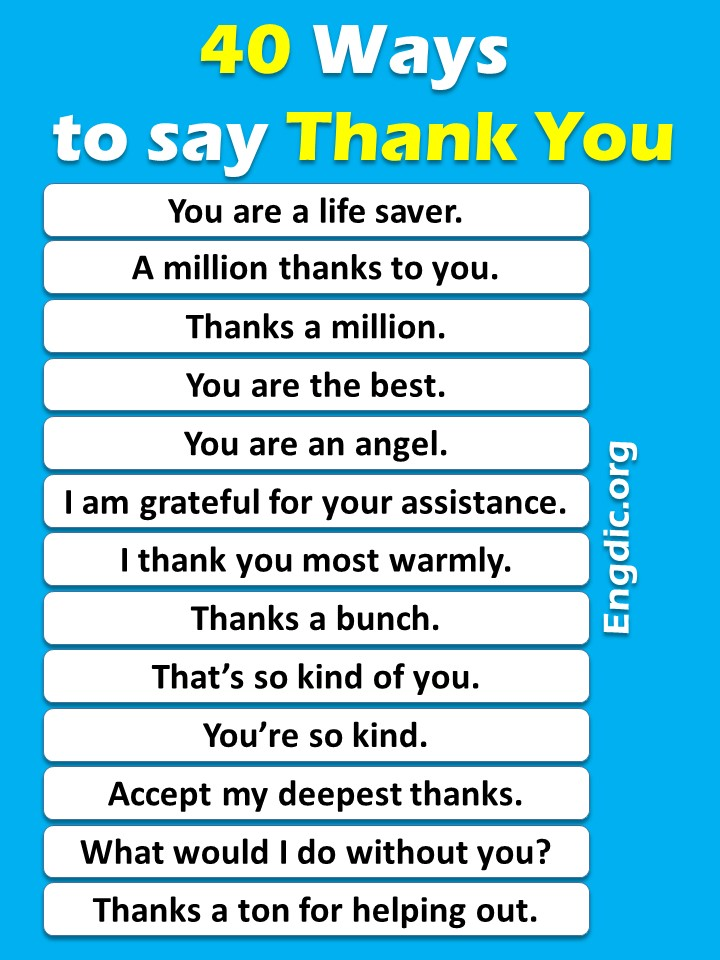 40 Different ways to say thank you