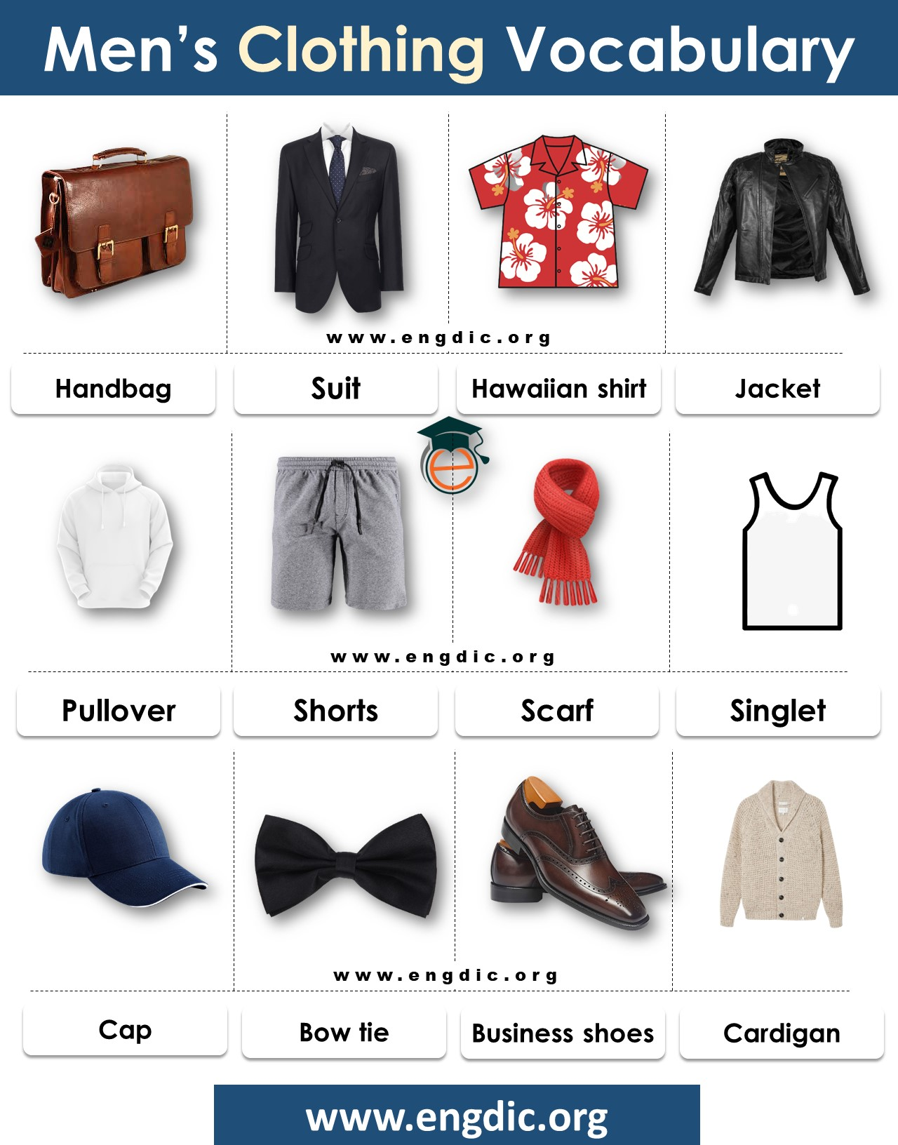 men's wear vocabulary complete list with pdf
