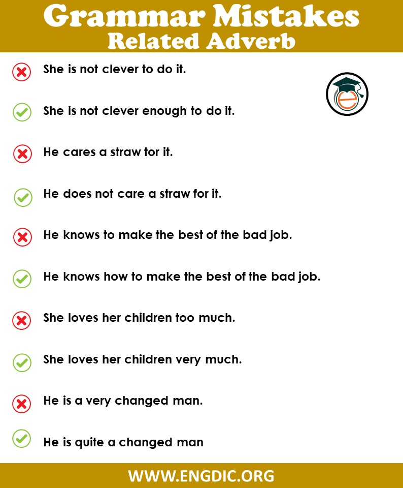 Grammar mistakes in English in the use of adverb