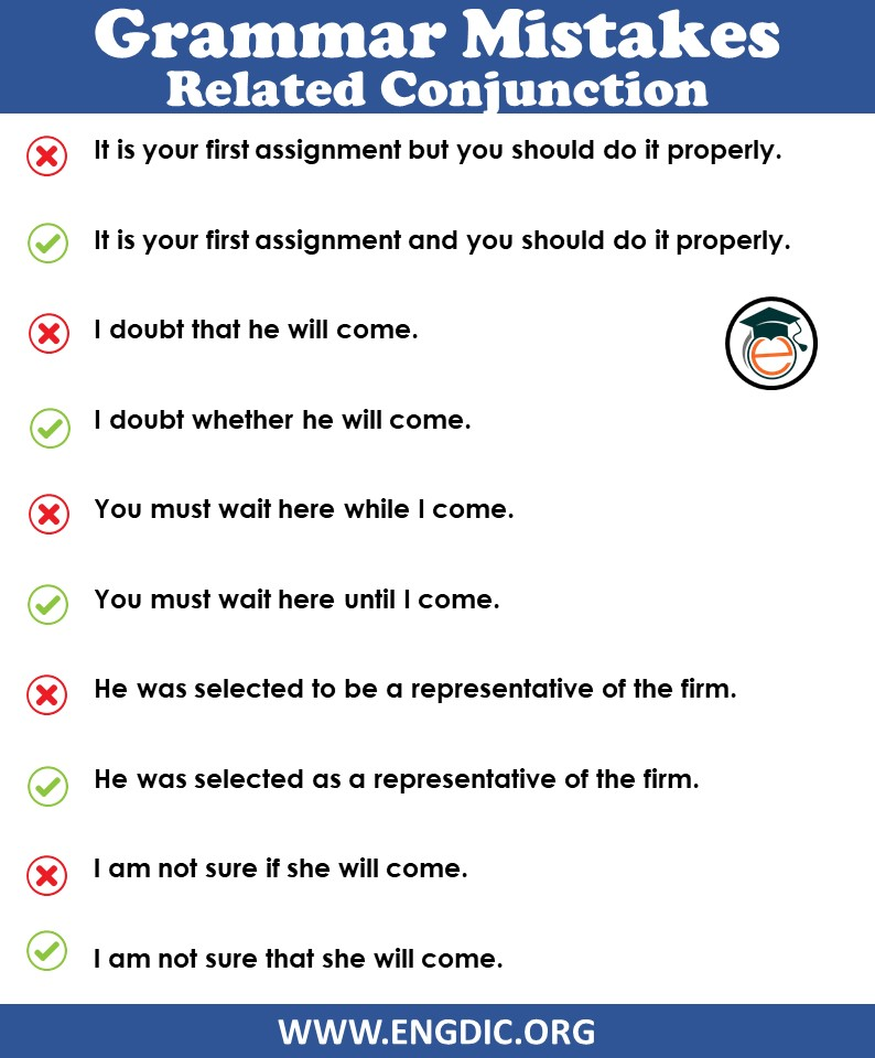 Grammar mistakes in English in the use of Conjunction PDF