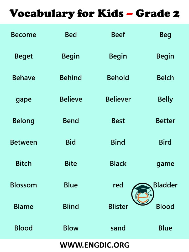 vocabulary words for 2nd grader