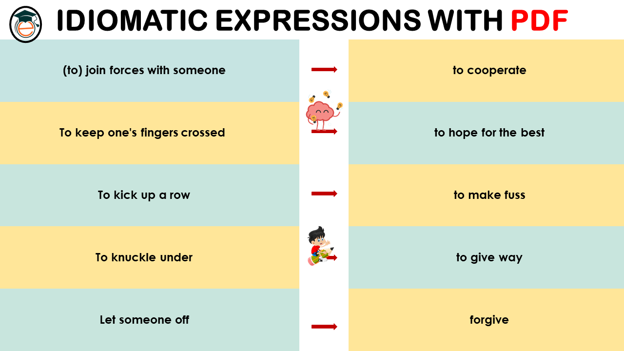 Idiomatic Expressions List and Meaning PDF