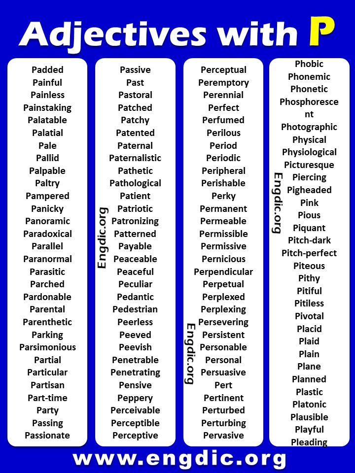 Adjectives that start with P PDF