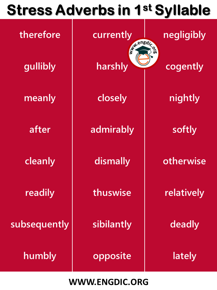 stressed adverbs in first syllable