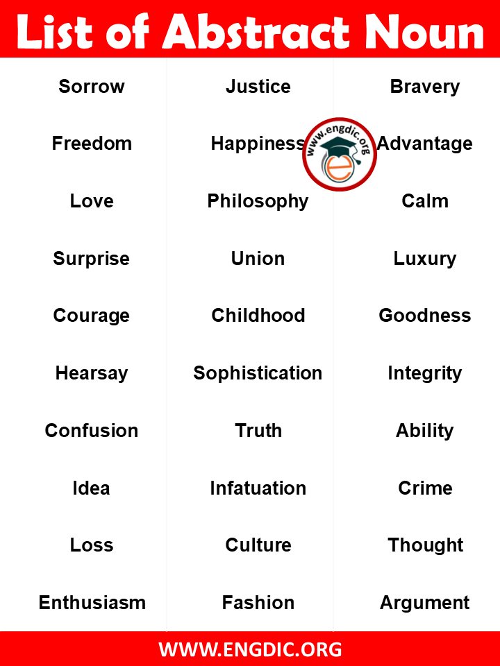 abstract noun list in english