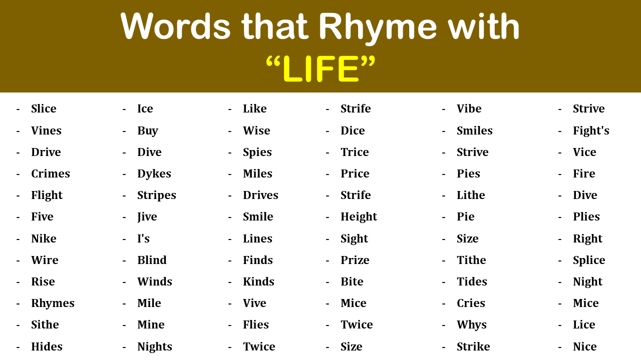 Life Rhyme Words